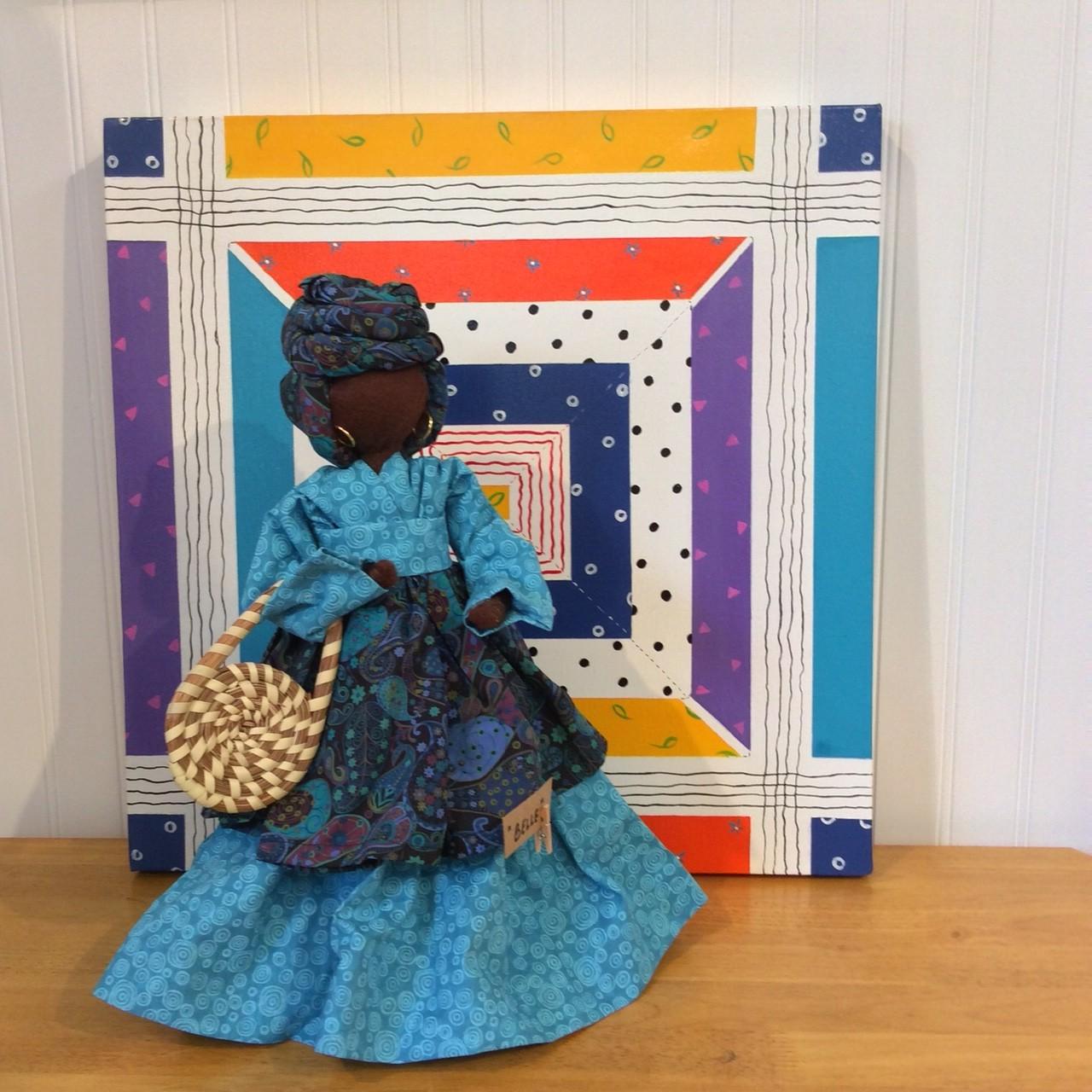 Belle - an Original Genya Gullah Bottle Doll / background: Fun Quilt Sq