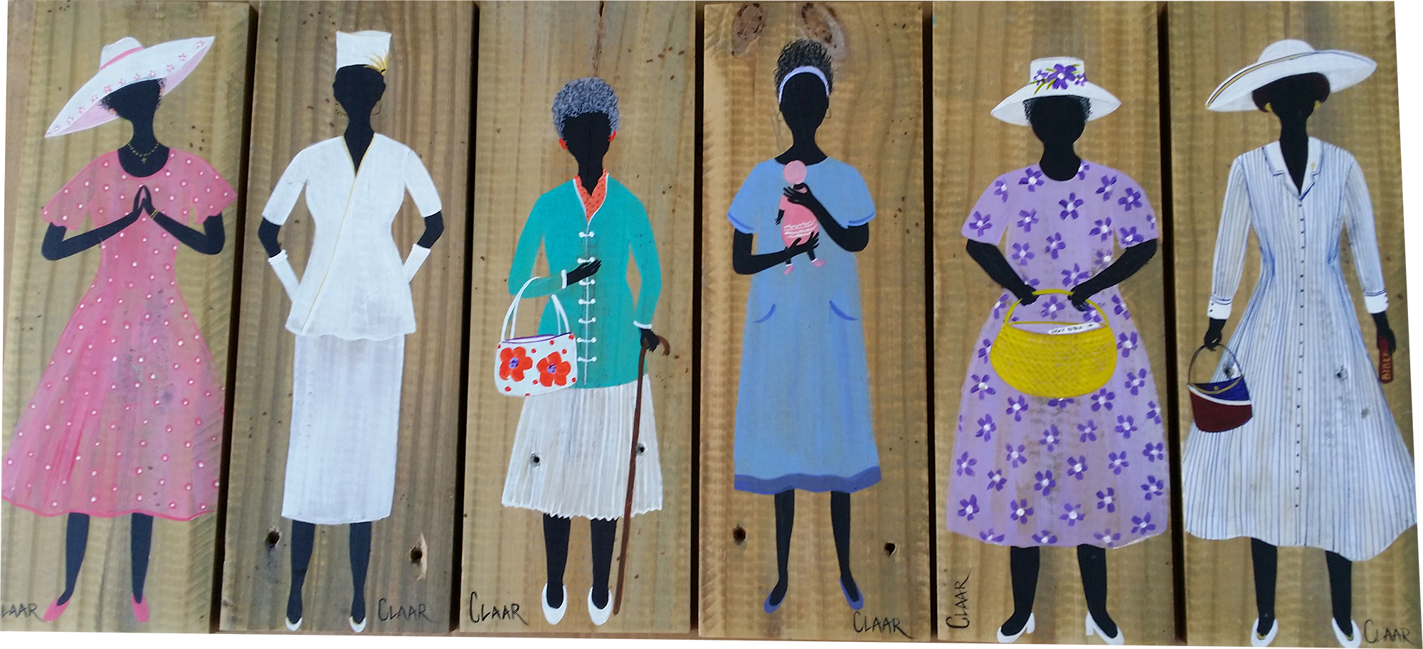 Church Ladies on Reclaimed Fence Board