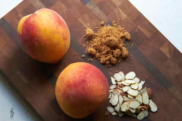 Ingredients for peach crisp - peaches, almonds, brown sugar