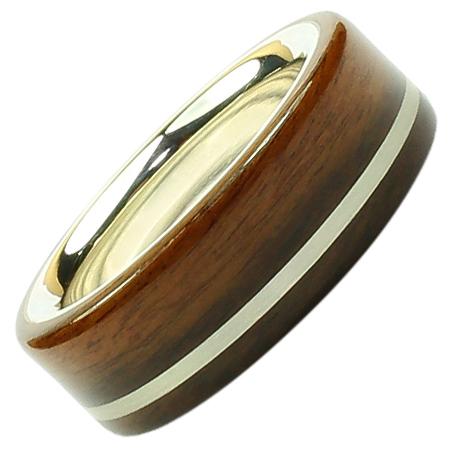 Holzring  Elegant Palisander mit Silber Liner  Fineholz
