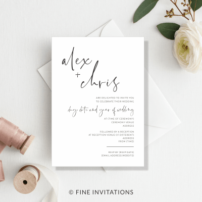 modern script minimalist wedding invitations