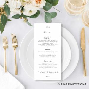 minimalist wedding menus australia