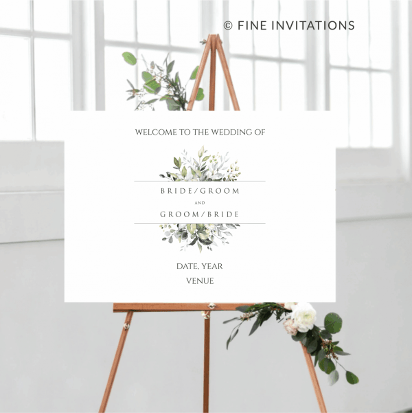 foliage wedding welcome sign online