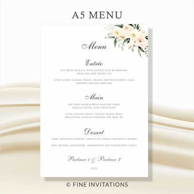 blush floral wedding menus
