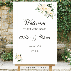 floral wedding welcome sign Australia