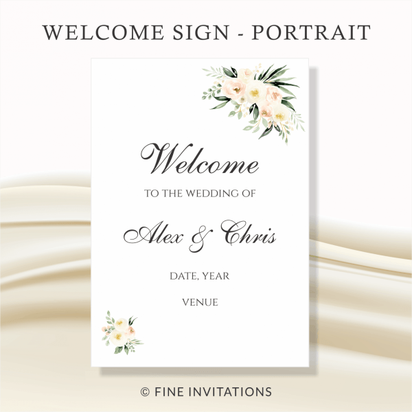 blush floral wedding welcome sign