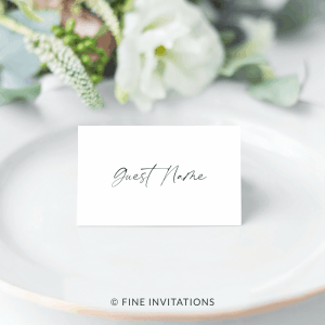 modern script name place cards