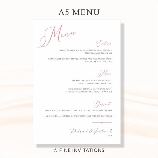 modern calligraphy wedding menus online