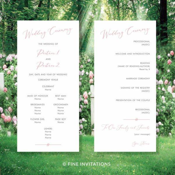 modern calligraphy minimalist wedding programs Australia