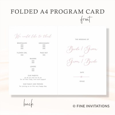 modern calligraphy wedding programs online