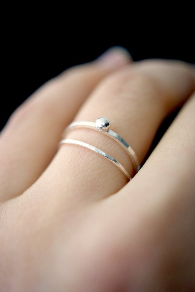 4e0574f3d2ce2 In Orbit sterling silver ring, silver stackable ring, silver stacking ring,  sterling silver bead ring, hammered silver rings, delicate ring - Fine ...