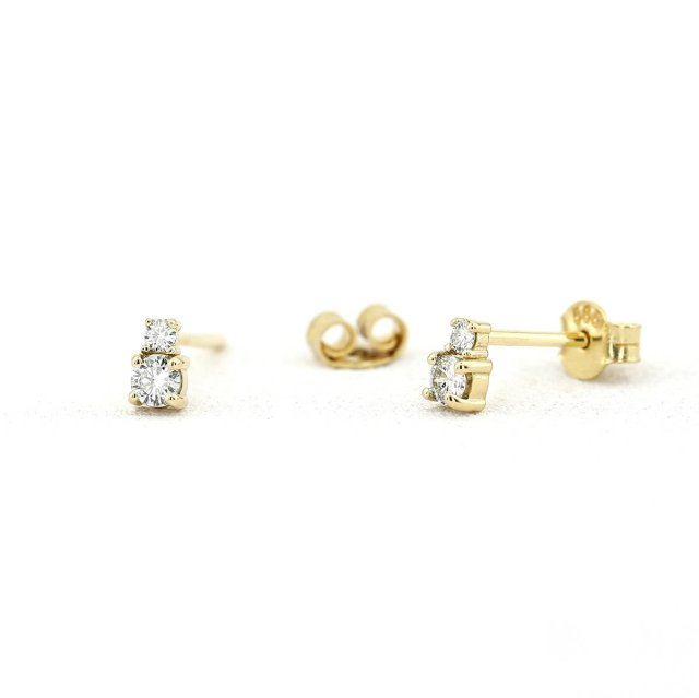 Solitaire Moissanite Earring 14Kt  Solid Yellow Gold Stud Earring,Anniversary Gift,Birthday Gift,Wedding Gift