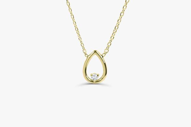 Diamond Necklace Pendant  14K Gold Round Cut Two Diamond Floating Necklace  Diamond Cluster Necklace  Mothers Day Gift Graduation Gift