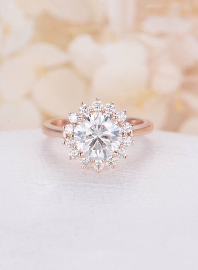 Moissanite Engagement Ring Vintage Rose Gold Engagement Ring Halo
