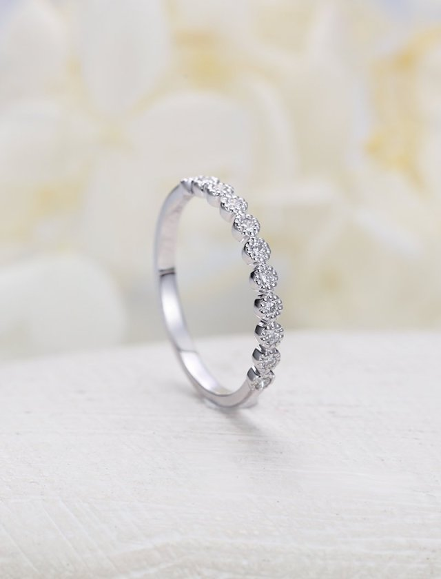 Vintage wedding band gold Marquise cut  half eternity Moissanite ring Delicate women matching Stacking  band Promise Anniversary
