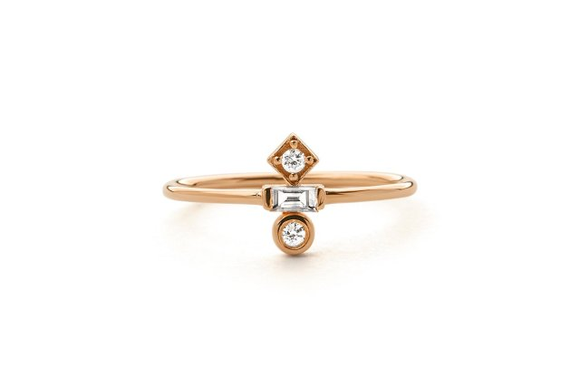 Baguette Diamond Ring  14k Gold Baguette and Round Cut Diamond Ring  Minimalist Baguette Ring  Dainty Mix Diamond Ring