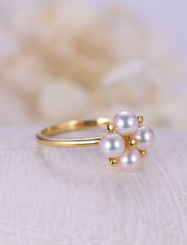 Pearl Engagement Ring 14k Gold Vintage Wedding Ring Delicate