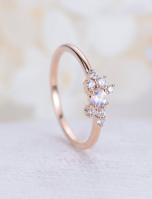 Moonstone Engagement Ring Rose Gold Engagement Ring Simple Diamond