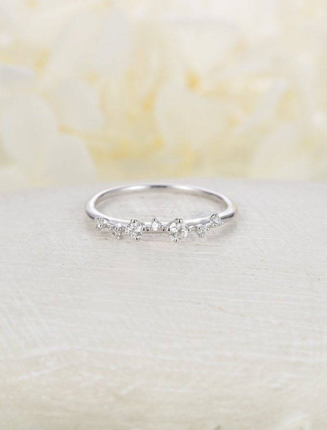 56b3369d36f16 Diamond Cluster Ring Twig Engagement Ring Floral Unique Wedding Band ...