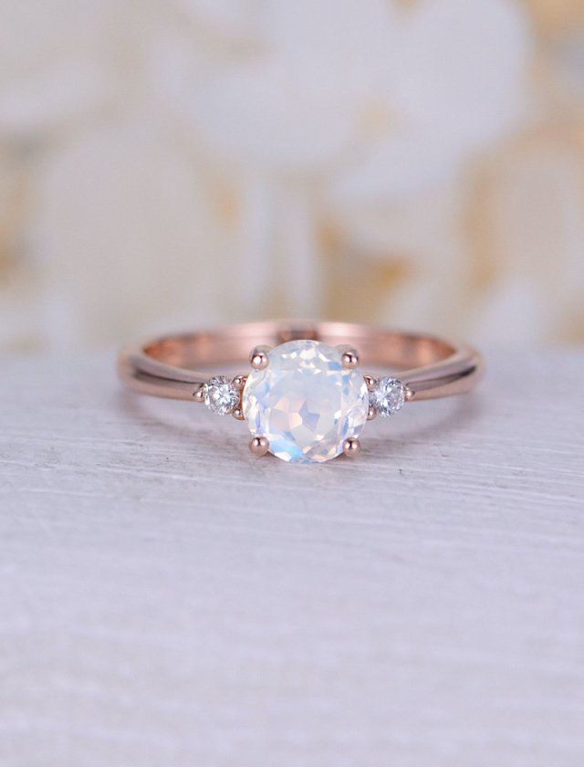 Moonstone Engagement Ring Rose Gold Three Stone Engagement Ring Simple Diamond Wedding Women Cluster Bridal Delicate Promise Gift For Her Fine Jewelry Ideas