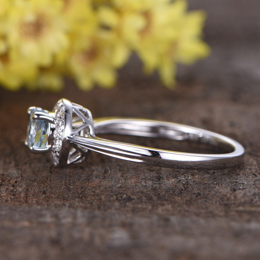Wedding Anniversary Gifts For Her: 0.55ct Round Cut VS Natural Aquamarine Engagement Ring,14k