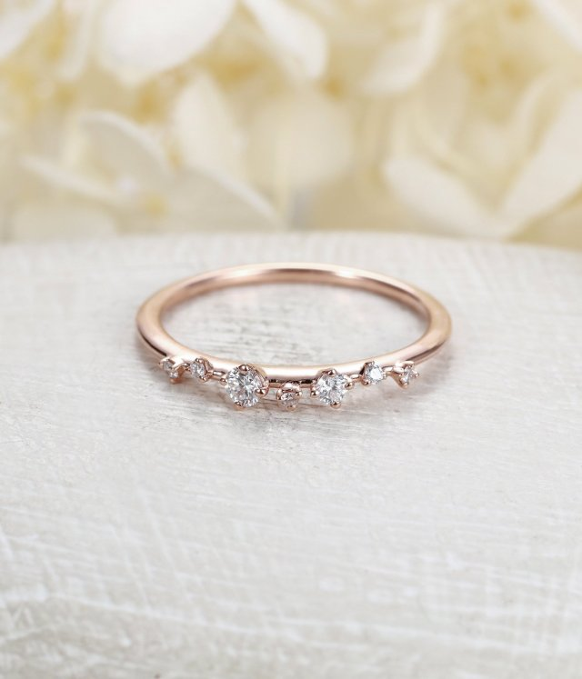 Diamond Cluster Ring Twig Engagement Ring Floral Unique Wedding Band Snowflake Rose Gold Dainty Flower Mini Tiny Anniversary Promise Gift Fine
