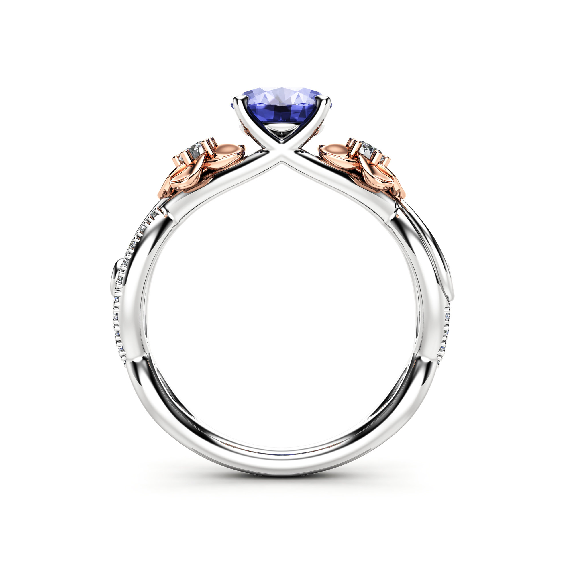 Natural Tanzanite And Diamond Engagement Ring For Women