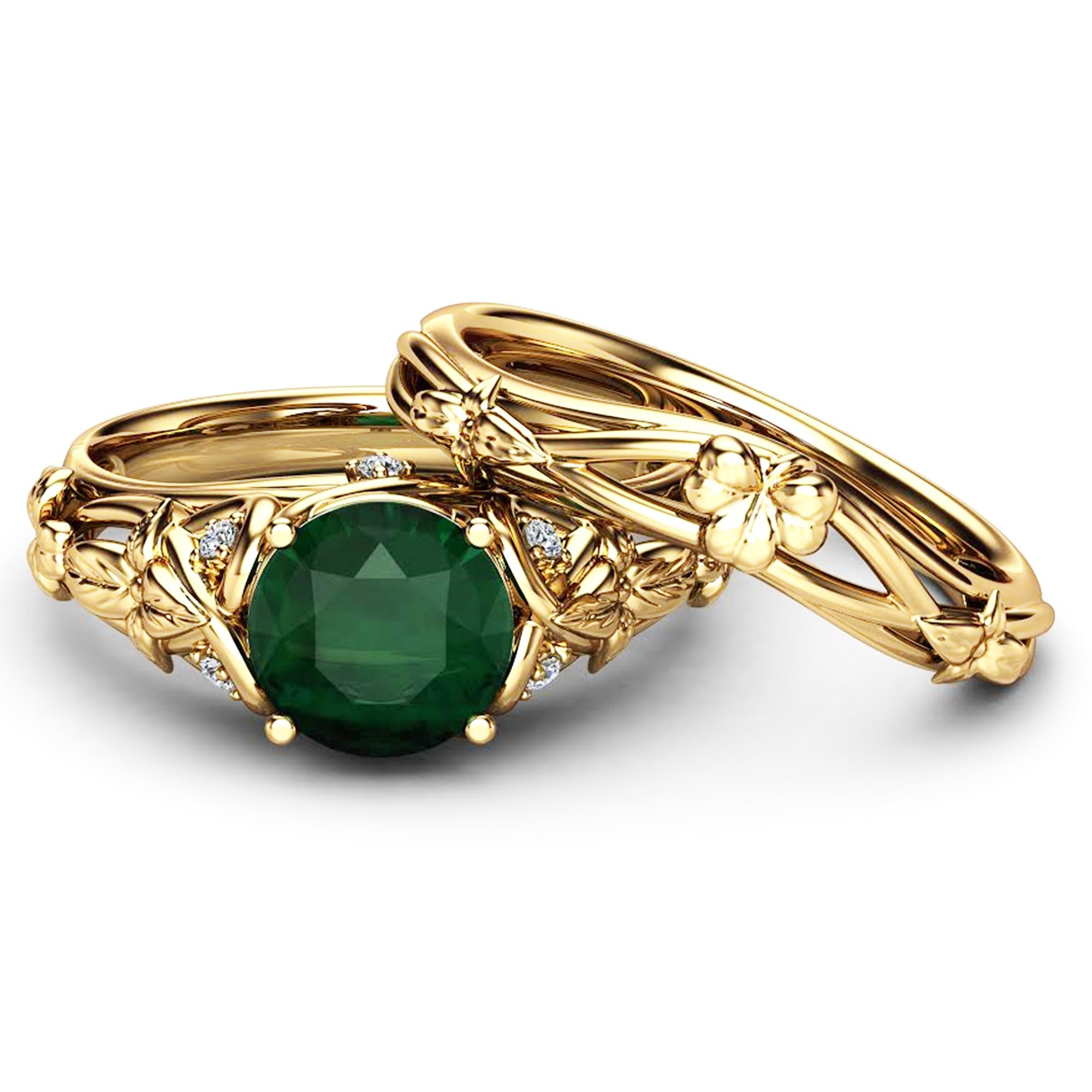 Orla Emerald Knot Ring Yellow Gold