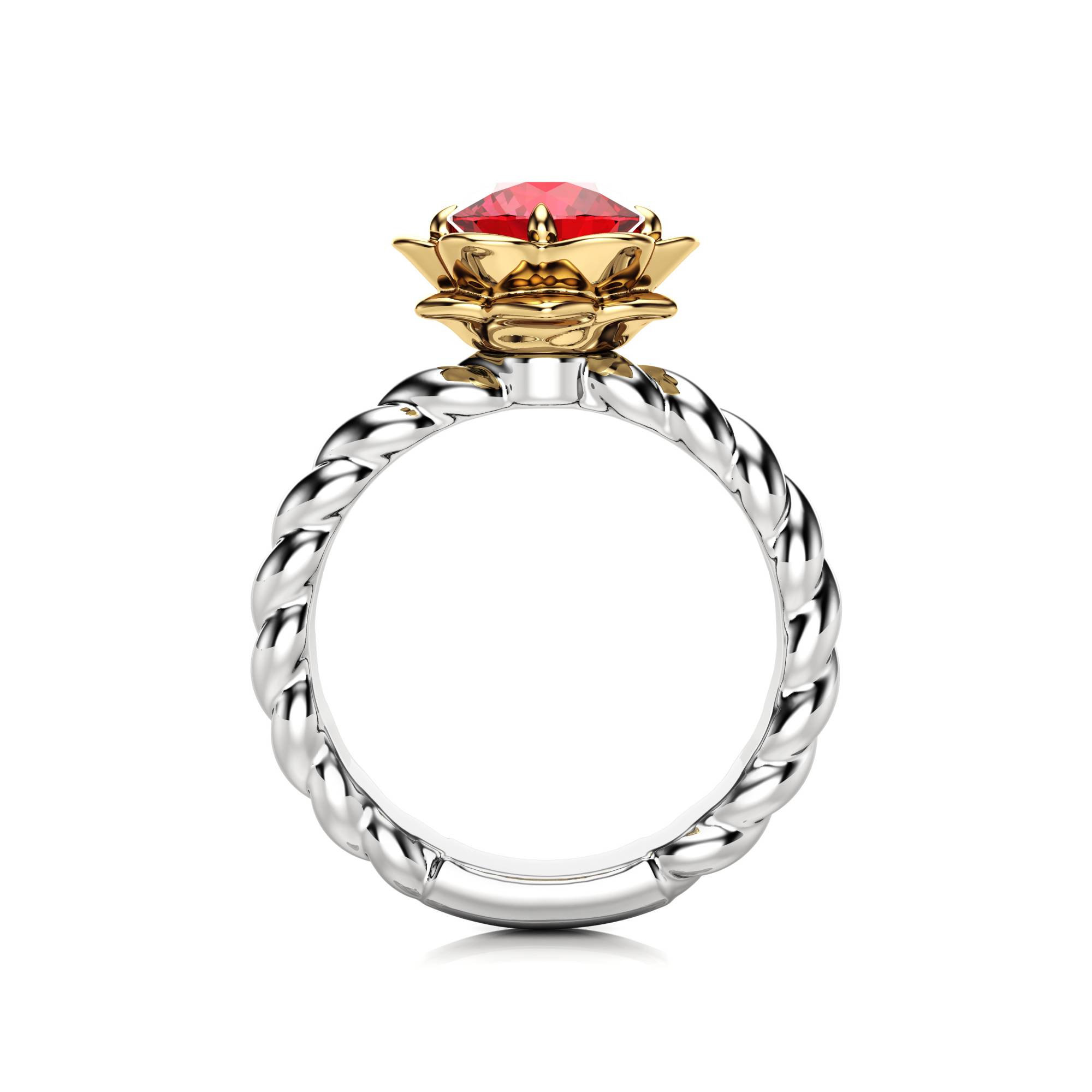 Unique Ruby Engagement Ring Flower Ring 14k Gold Ring