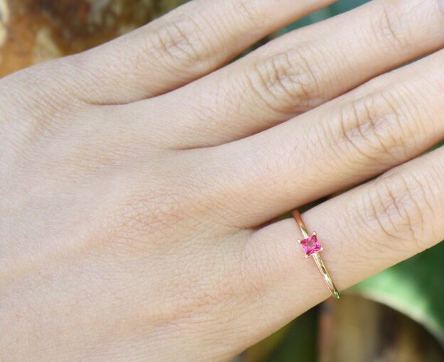 Gold ring,pink ring valentine/'s day gift,pink fuchsia ring stacking ring stackble gold ring