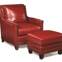 Red Leather Chair And Ottoman Folding Hinges Chairs Prescott In