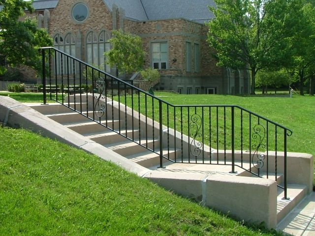 Exterior Ironwork Finelli Ironworks | Iron Handrails For Outdoor Steps | Deck | Simple | Outside | Free Standing | Galvanized Iron