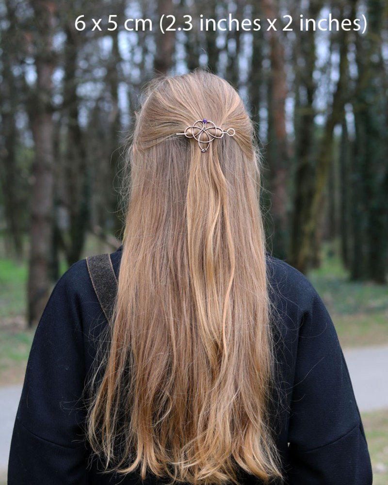 celtic knot hair holder with gemstone