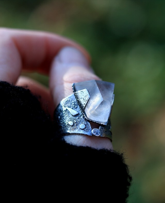 Big quartz ring in sterling silver, worn