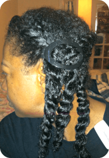twists in a ponytail