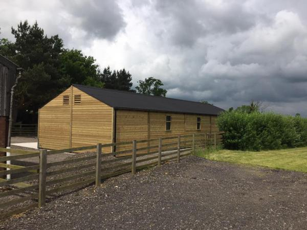 3 Stables, barn & tack room with extended overhang