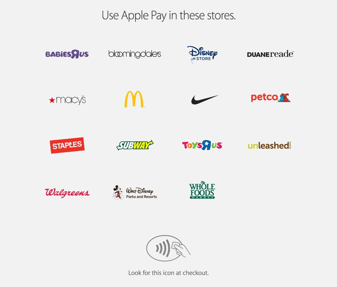 Apple Pay retailers, Sep 2014