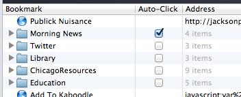 Safari edit bookmarks Auto-Click