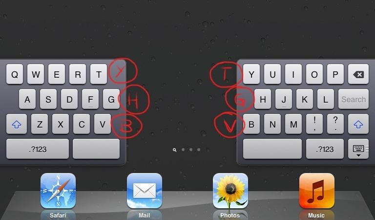 The iPad's split keyboard