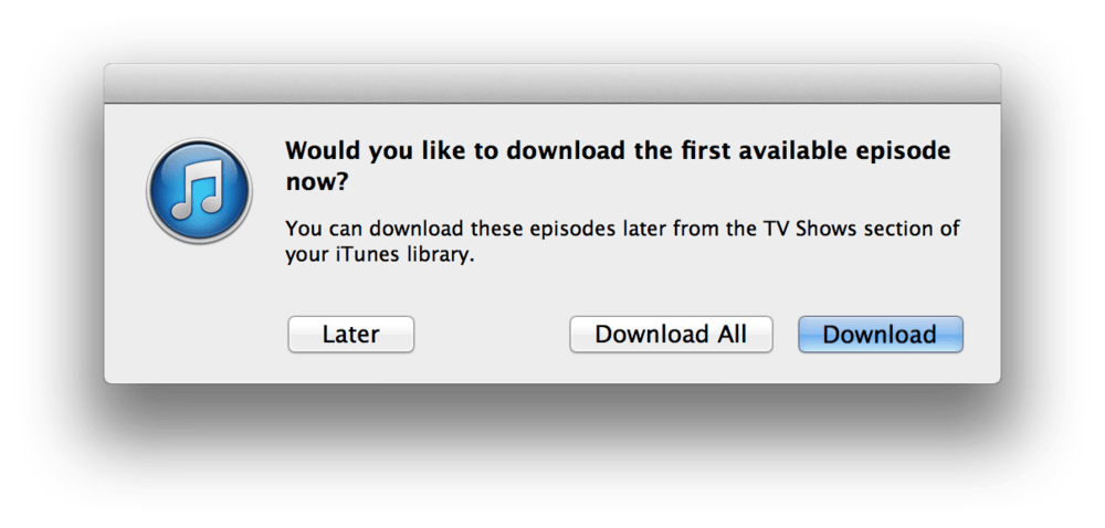 iTunes download all TV shows