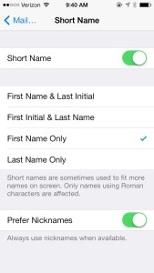 Short Names iOS 7