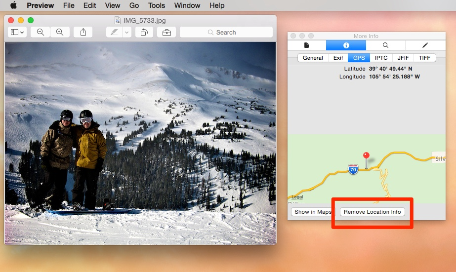 Preview remove location info Yosemite