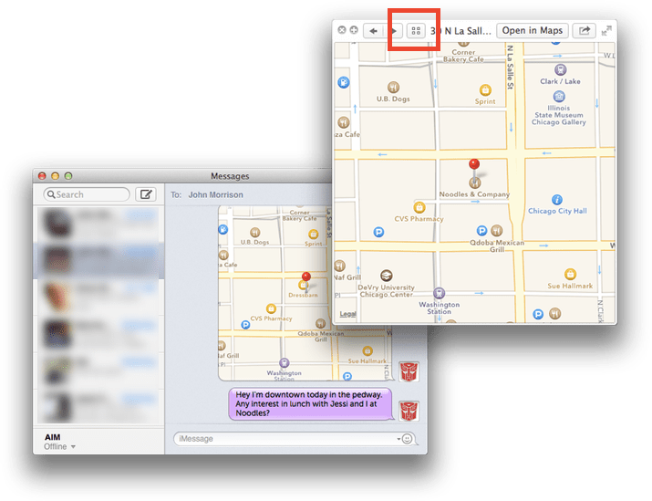 Messages location Quick Look