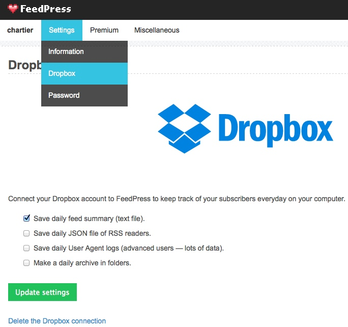 FeedPress Dropbox integration