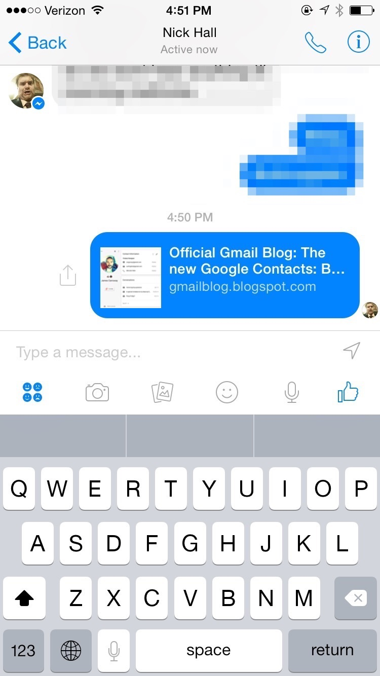 Facebook Messenger: Sharing a webpage sends a useful title