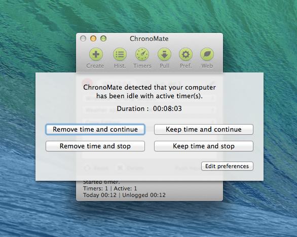 ChronoMate idle timer alert