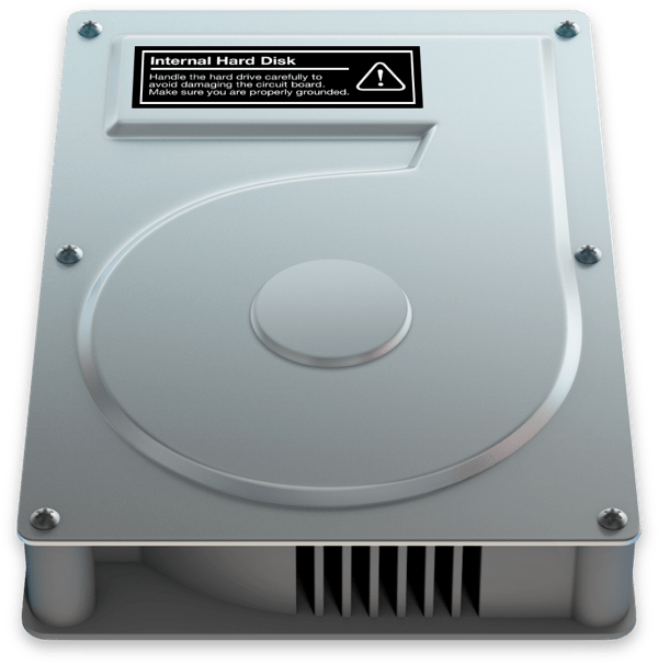 OS X hard drive icon label