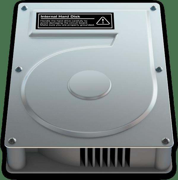 OS X hard drive icon label