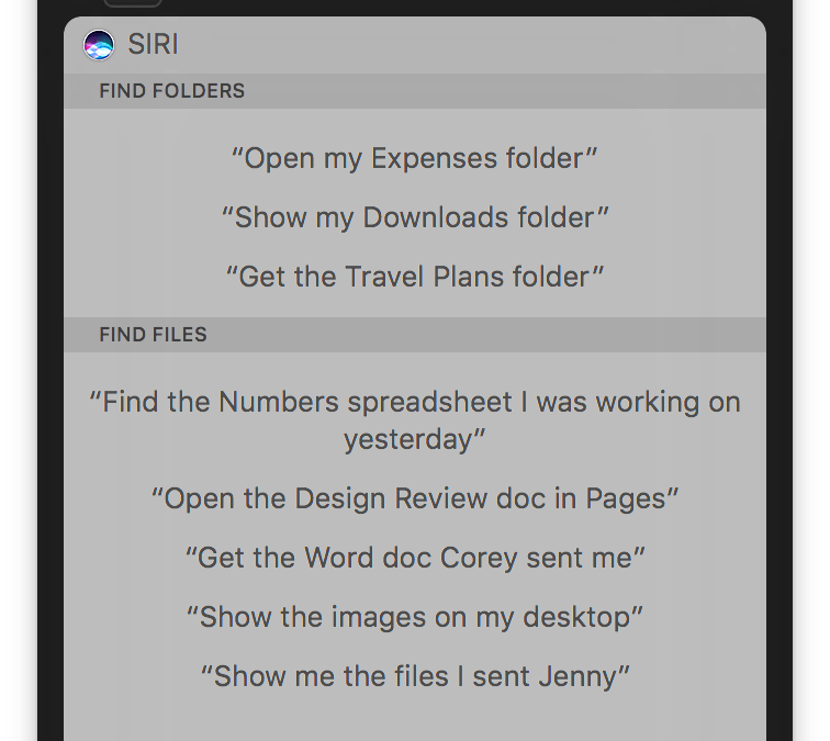 macOS Sierra: Ask Siri to find files, turn results into a widget