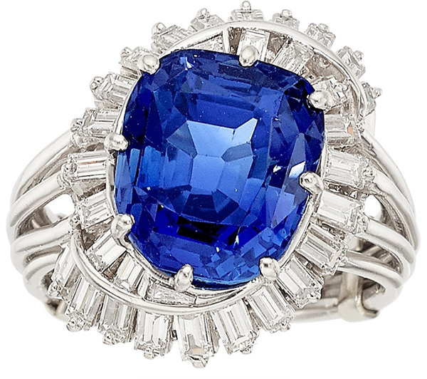 Kashmir Sapphire (11.72carats) and Diamond Ring Price Realized: $670,000 by Fine Estate, Inc.